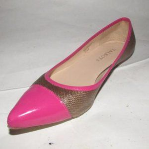 Talbots Hot Pink Patent Leather and Brown Raffia